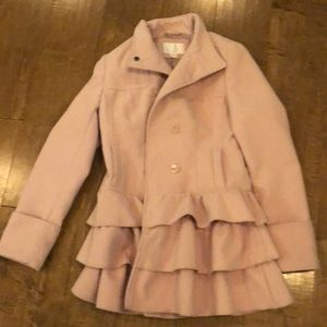 Target coat medium pink ruffle bottom xhiliration